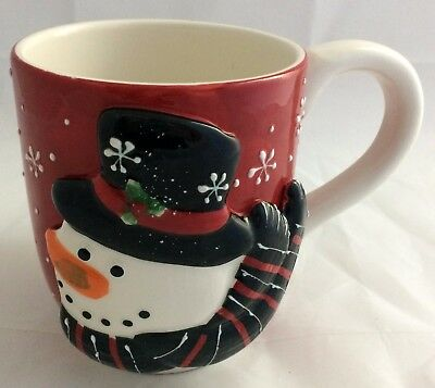 Cracker Barrel I Love Snow Days 3D Large Coffee Mug Snowman Christmas Winter Red