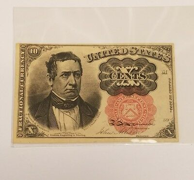 1874 United States of America 10 Ten Cents Fractional Currency Paper Note Bill