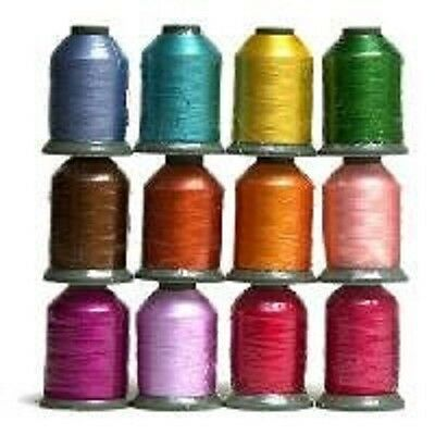 12 Large Spools SUMMER COLORS 1100 yards each Embroidery Machine Thread