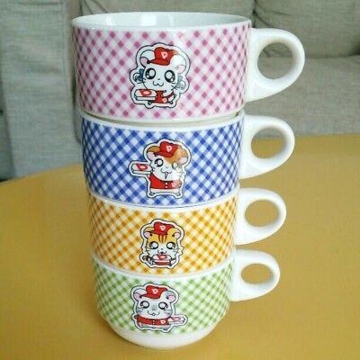 Hamtaro Soup Mug 4pcs set Japan Pizza Novelty TV Tokyo Anime Manga RARE