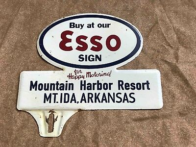 Old Mountain Harbor Resort Esso Gas Station Metal License Plate Ad Topper Sign