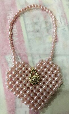 Dolls / Bears Handbag - Heart Shaped Pink Pearl Beads with gold clasp