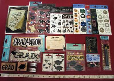 Large Lot Graduation Stickers, Ribbons, Rubber Stamps, Buttons, Card, More