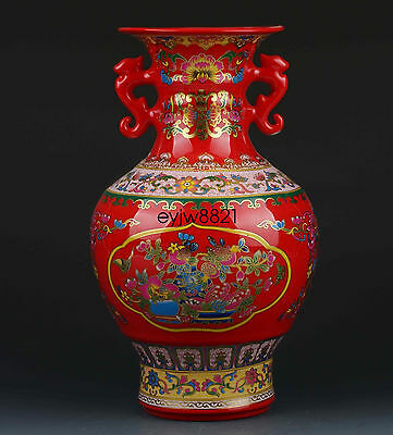 Chinese Old Pastel Color Porcelain Painted Peach Vase W Qianlong Mark