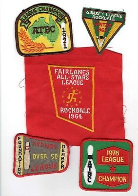 Vintage - Five (5) Tenpin Bowling Cloth Patches (Lot A) - Freepost