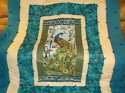 Large Finished Quilt with a Gorgeous Peacock ,Very Elegant