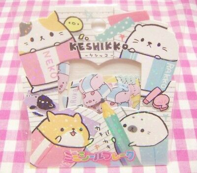 CRUX / Keshikko Cat Seal Mini Flake Sticker / Japanese Stationery 42 pieces