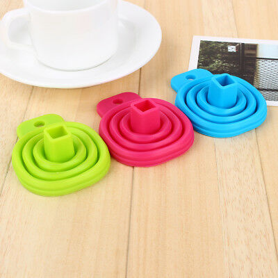 Lovely Silicone Gel Practical Collapsible Foldable Funnel Hopper Kitchen Tool