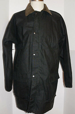 Men's Black Waxed Cotton Jacket! Corduroy Collar/snap-On Hood! Made In England L
