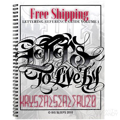 LETTERS TO LIVE BY VOL 1 Design Tattoo Flash Book Big Sleeps CALLIGRAPHY 2 LA