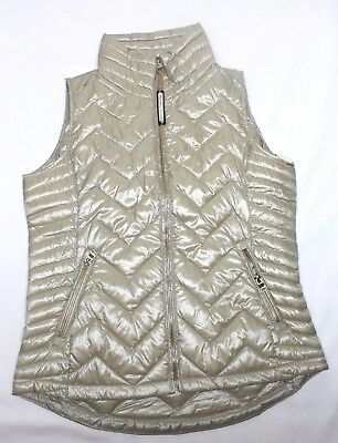 Calvin Klein Women's Down-Filled Chevron Quilted Vest Metallic Gold Variety Size