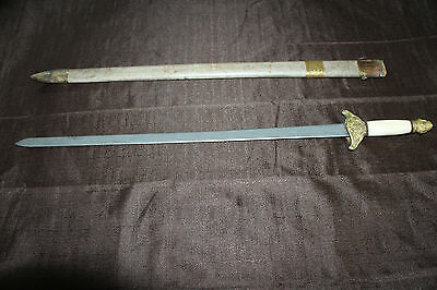 Antique Old Chinese Ray Skin Dragon Engraved Bone Handle Jian Sword 18th 19th C