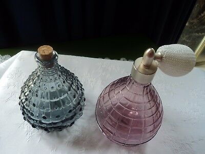 Two Vintage glass pieces, 1 perfume bottle with puffer, and 1 jar with stopper.