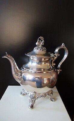 Vtg Antique Ornate Silverplate On Copper Footed Teapot W Hinged Lid, London Mark