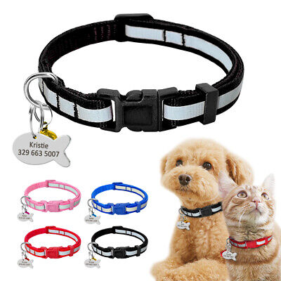 Personalised Custom Pet Cat Dog Collars&Tag&Bell Reflective for Small Puppy XS S