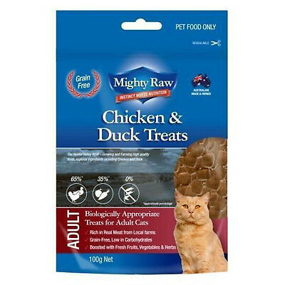 Mighty Raw Adult Cat Chicken & Duck Treats 100g Natural Cat Treats