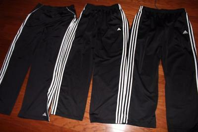 Lot Of 3 Adidas Adult Mens Black Athletic Pants White Stripes Gym Practice Large