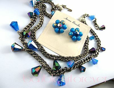 VtG Double Chain Necklace Blue AB Lucite Cone Dangles w/ Cluster Clip Earrings
