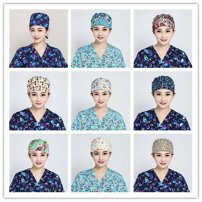 Women Men Doctor Nurse Printing Scrub Hats Unisex Medical Surgical Surgery Cap