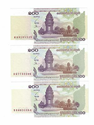 CAMBODIA LOT OF 3 NOTES x 100 RIELS 2001  UNC. CONDITION ( #718)