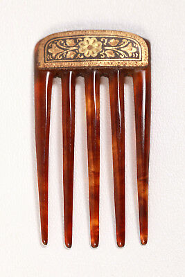 Antique Gold Inlay Damascene & Faux Tortoise Shell Hair Comb Vintage Accessory
