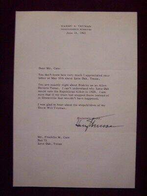 President Harry S Truman signed typed letter TLS autograph