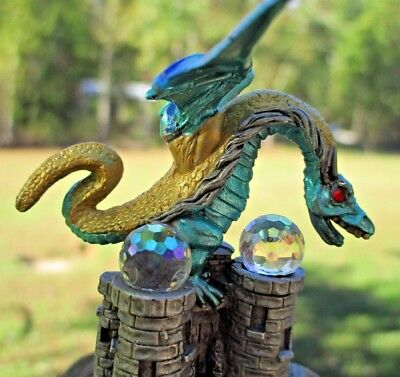 WOW! Spoontiques Pewter DRAGON holding CRYSTAL Figurine Blue Green Gold GORGEOUS
