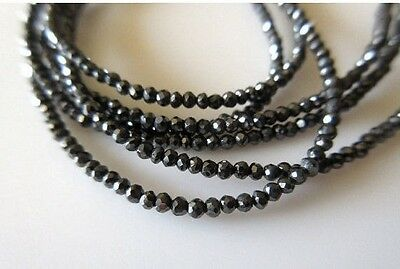 25 Strands Wholesale Lot Rare Tiny All 2mm Black Diamond Faceted Beads - DDS336