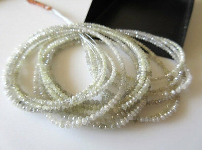 5 Strand Wholesale Lot Rare Tiny All 2mm White Grey Diamond Faceted Beads DDS325