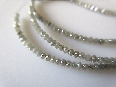 25 Strands Wholesale Lot 16 Inches Rare Tiny All 2mm Grey Faceted Diamond DDS346