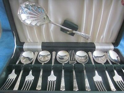 13pc vintage YEOMAN Cutlery silverplated FRUIT - DESSERT SPOON set incl. server