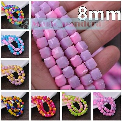 New DIY 8mm Glass Czech Cube Square Faceted Jewelry Findings Loose Spacer Beads
