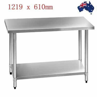 1219 x 610mm Stainless Steel #430 Work Bench Kitchen Food Prep Table Heavy Duty