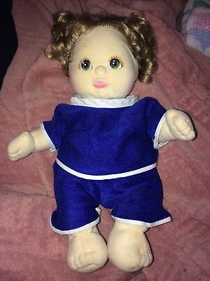 VINTAGE 1985 MATTEL MY CHILD BABY DOLL BLONDE PIGTAILS GREEN EYES Outfit Diaper