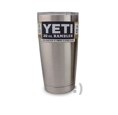 YETI Rambler Tumbler Cup with Lid Stainless Steel Silver Outdoor Sports 20oz Cup