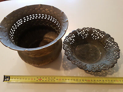 Vintage Copper Platted?? Pot And Small Bowl