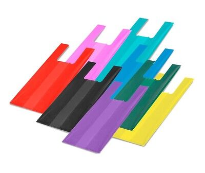 Plastic T-Shirt Bags with Handles ***CHOOSE YOUR COLOR***