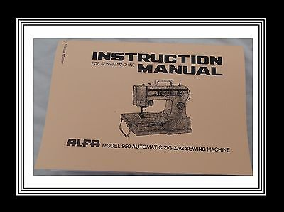 ALFA 950 sewing machine instructions Manual Booklet (Machine Not Included)