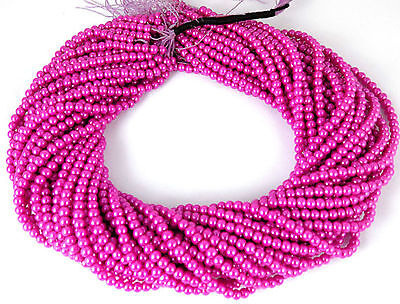 """5 Strands Fuschia Carnation Pink Glass Pearl Rondelle 4.5mm 16"""" Long Smooth Bead"""