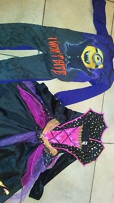 Halloween Costumes Childrens Bundle x 2 Minions All in One age 5-6, Dracula 7-8
