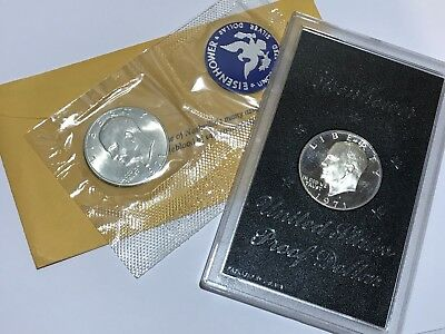 9. Two 1971 S Eisenhower Silver Dollar Proof Coin & UNC Silver Mint Set