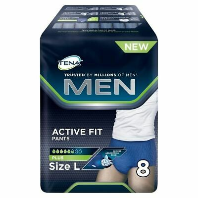 Tena Men Active Fit Pants Plus - Size Large 8 Pack 1 2 3 6 12 Packs