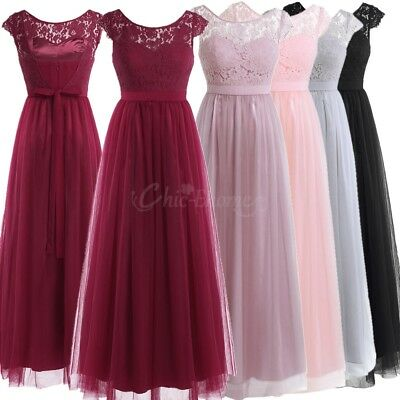Pretty Women's Lace Bridesmaid Party Dresses Formal Evening Party Prom Ball Gown