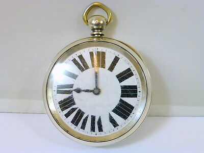 1890s LARGE GENTS JACOT PATENT 8-DAY SILVER POCKET WATCH IN GOOD CONDITION