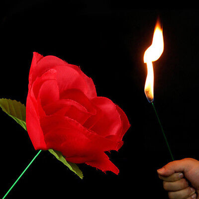 Fashion Fabric Close Up Magic Rose To Fire Torch Trick Flame Appearing Flower