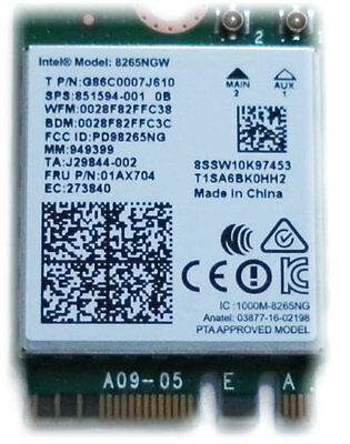 Intel Wireless Dual Band AC 8265NGW 867Mbps WIFI Card Bluetooth LATEST EDITION