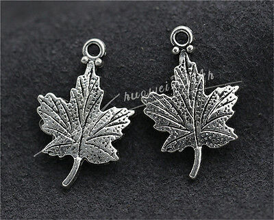 10pcs Tibet Silver Exquisite maple leaf Jewelry Charms Pendant 23x15mm  H