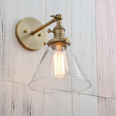Pathson Industrial Vintage Loft Wall Light Sconce Funnel Cone Glass Lamp Shade
