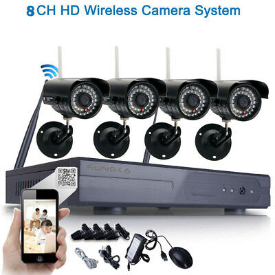 New 8CH-Channel DVR 720P Wireless IR-CUT IP Network WIFI Cameral Security System