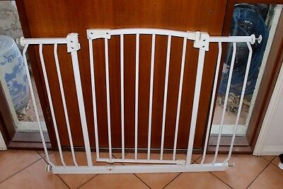Used Child's Safety Gate in Powder Coated White Pressure Mounted Type
